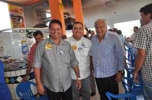 Vilmar Rocha chegou ao local do evento com o prefeito Danilo Gleic e Naçoitan Leite